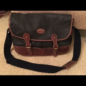 Fossil Leather &canvas Messenger Bag